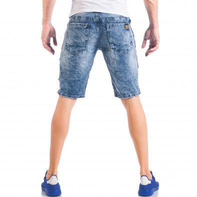 Ανδρική γαλάζια τζιν βερμούδα με σκισίματα  it050618-22 4