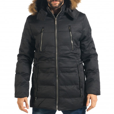26b7e93c0a6c Ανδρικό μαύρο μπουφάν παρκά Palablu it311017-13 - Fashionmix.gr