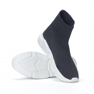 Ανδρικά μαύρα αθλητικά παπούτσια slip-on με λευκή σόλα it240418-29 4