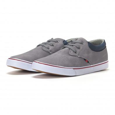 Ανδρικά γκρι sneakers με μπλε λεπτομέρεια  it240418-24 3