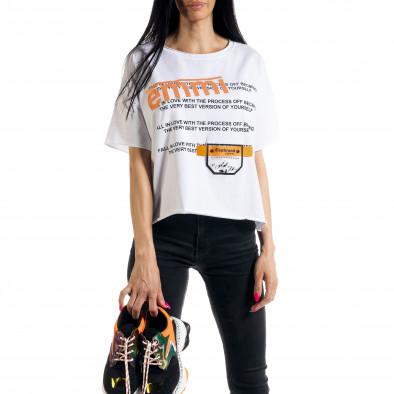 Γυναικεία λευκή κοντομάνικη μπλούζα Loose fit il080620-11 2