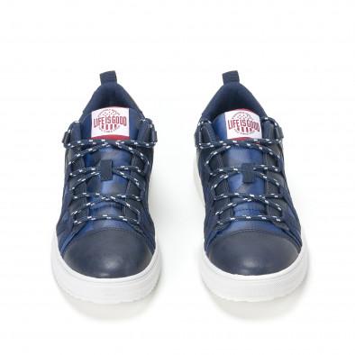 Ανδρικά μπλε sneakers παραλλαγής με κορδόνια it160318-8 6