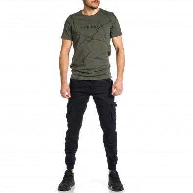 Ανδρικό μαύρο παντελόνι cargo Plus Size tr270421-12 4