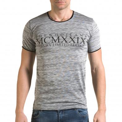 Ανδρική γκρι κοντομάνικη μπλούζα Lagos il120216-36 2