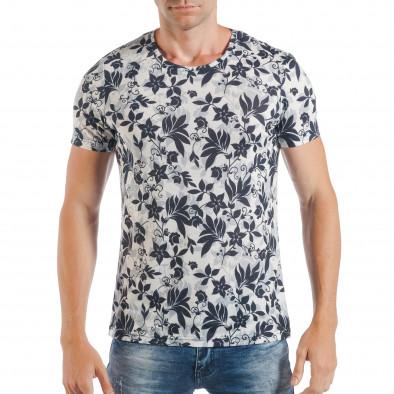 Ανδρική λευκή κοντομάνικη μπλούζα με μπλε λουλούδια tsf250518-54 2 ... 94048cc4c57