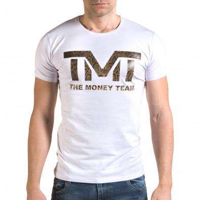 Ανδρική λευκή κοντομάνικη μπλούζα Glamsky il120216-63 2