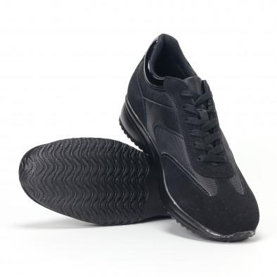 Ανδρικά μαύρα αθλητικά παπούτσια με ψηλή σόλα it160318-38 4