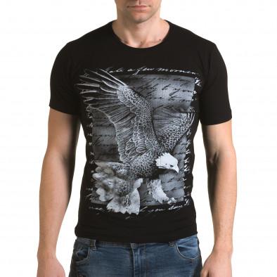 Ανδρική μαύρη κοντομάνικη μπλούζα Lagos il120216-51 2