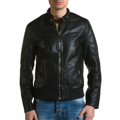 Ανδρικό μαύρο μπουφαν δερματινη X-Feel ca190116-34 2