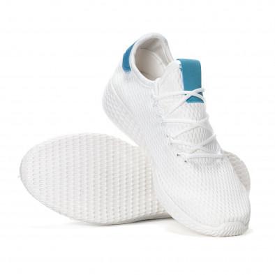 Ανδρικά λευκά ελαφρία αθλητικά παπούτσια με γαλάζιες λεπτομέρειες it240418-27 4