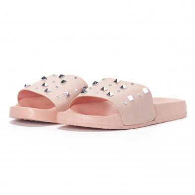 Γυναικείες ροζ παντόφλες με διακοσμητικές πέτρες και καψούλια it230418-33 3