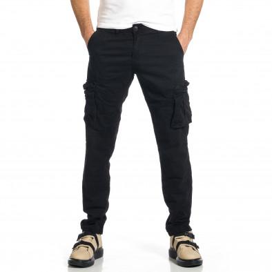 Ανδρικό μαύρο παντελόνι cargo σε ίσια γραμμή Plus Size tr270421-15 2