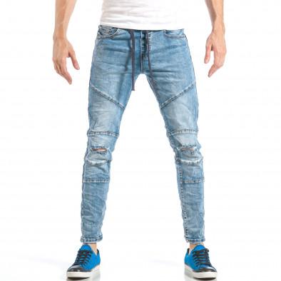 Ανδρικό γαλάζιο τζιν στύλ ρόκερ με λάστιχο it040518-5 2