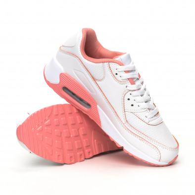 Γυναικεία λευκά-ροζ αθλητικά παπούτσια με αερόσολα it051219-11 4