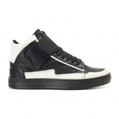 Ανδρικά μαύρα δερμάτινα sneakers BKS it291117-20 2