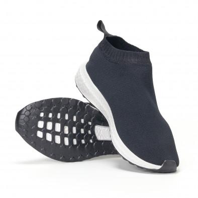 Ανδρικά μαύρα αθλητικά παπούτσια slip-on κάλτσα it160318-37 4