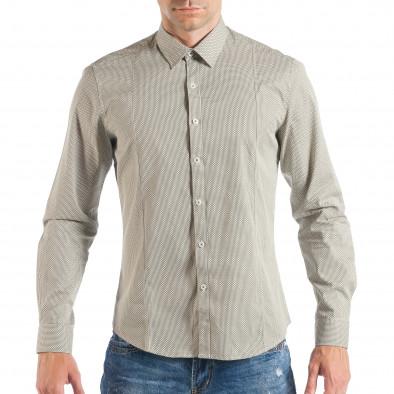 Ανδρικό μπεζ πουκάμισο με κλασικό πριντ it050618-12 2