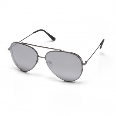 b00100fd06 Ανδρικά γκρι γυαλιά ηλίου πιλότου με διπλό σκελετό it250418-43 ...