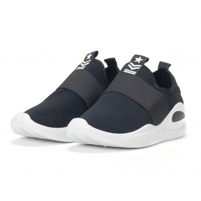 Ανδρικά μαύρα αθλητικά slip-on κάλτσα με διακοσμητικό λάστιχο it160318-33 3