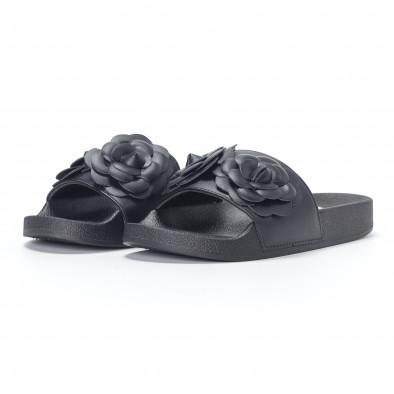 Γυναικείες μαύρες παντόφλες με διακοσμητικά λουλούδια it230418-21 3