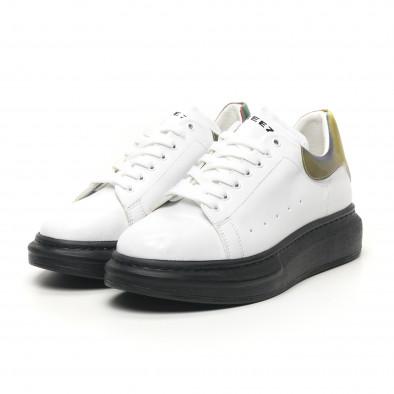 Ανδρικά λευκά sneakers με χοντρή σόλα tr180320-35 3