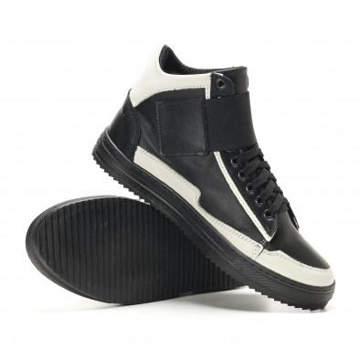 Ανδρικά μαύρα δερμάτινα sneakers BKS it291117-20 4