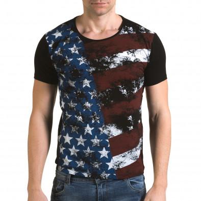 Ανδρική μαύρη κοντομάνικη μπλούζα Lagos il120216-11 2