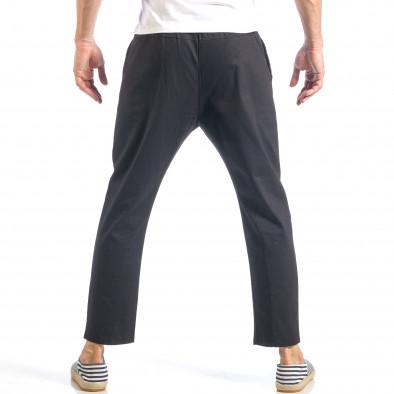 Ανδρικό μαύρο ελεύθερο παντελόνι με λάστιχο it040518-17 4