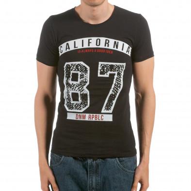Ανδρική μαύρη κοντομάνικη μπλούζα Denim Republic il120515-101 2
