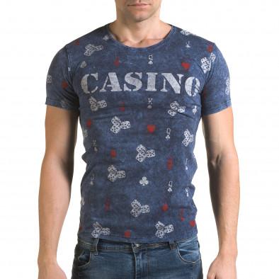 Ανδρική γαλάζια κοντομάνικη μπλούζα Lagos il120216-30 2