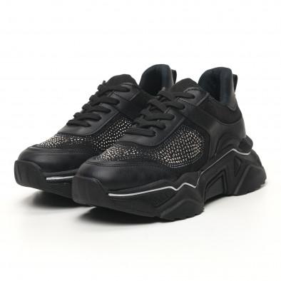 Γυναικεία μαύρα sneakers Seribo tr180320-17 2