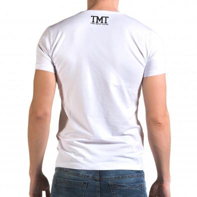 Ανδρική λευκή κοντομάνικη μπλούζα Glamsky il120216-63 3