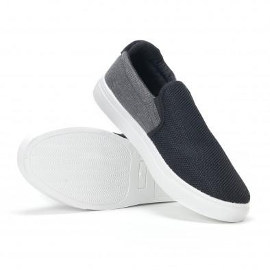 Ανδρικά μαύρα διχτυωτά sneakers slip-on it160318-13 4