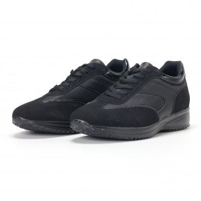 Ανδρικά μαύρα αθλητικά παπούτσια με ψηλή σόλα it160318-38 3