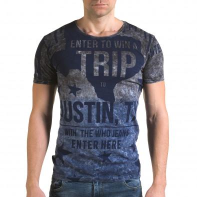 Ανδρική γαλάζια κοντομάνικη μπλούζα Lagos il120216-24 2