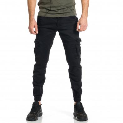 Ανδρικό μαύρο παντελόνι cargo Plus Size tr270421-12 2