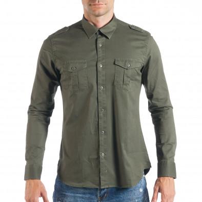 dacb6eb2c19c Ανδρικό πράσινο πουκάμισο με τσέπες it050618-8 - Fashionmix.gr