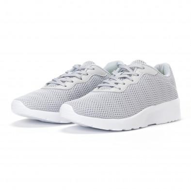 Ανδρικά γκρι διχτυωτά αθλητικά παπούτσια  it160318-34 3