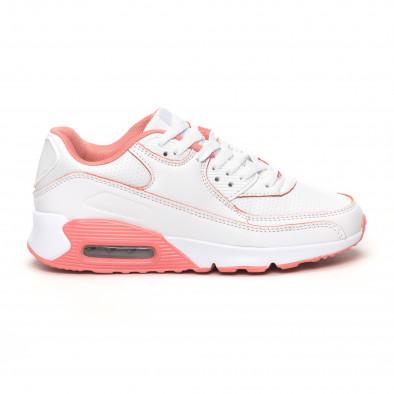 Γυναικεία λευκά-ροζ αθλητικά παπούτσια με αερόσολα it051219-11 2