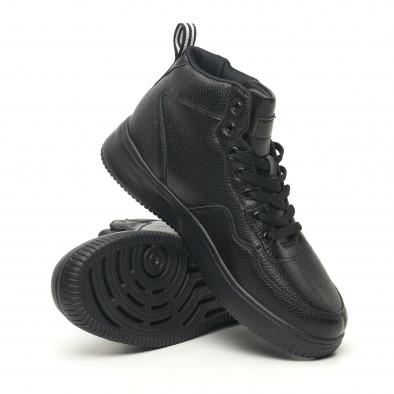 Ανδρικά ψηλά μαύρα sneakers με Shagreen design it251019-16 4