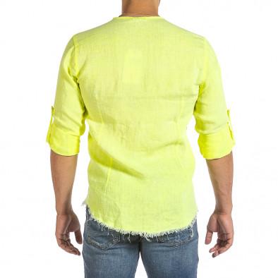 Ανδρικό κίτρινο λινό πουκάμισο Duca Fashion it240621-33 3