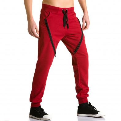 Ανδρικό κόκκινο παντελόνι jogger DelPiero ca190116-24 4