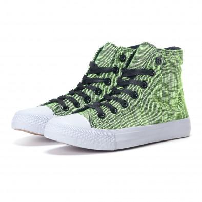 Ψηλά γυναικεία υφασμάτινα sneakers με πράσινες και μαύρες ρίγες it240118-9 3