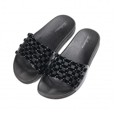 Γυναικείες μαύρες παντόφλες λουστρίνι it010618-11 3