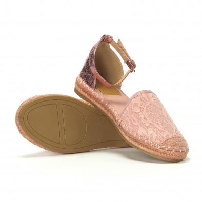 Γυναικείες ροζ εσπαντρίγιες με δαντέλα και λουράκι it230418-16 4
