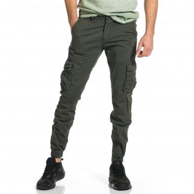 Ανδρικό πράσινο παντελόνι cargo Plus Size tr270421-11 2