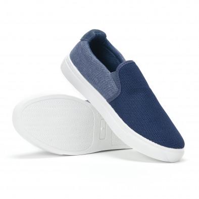 Ανδρικά μπλε sneakers slip-on από τζιν ύφασμα it160318-12 4