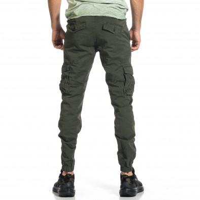 Ανδρικό πράσινο παντελόνι cargo Plus Size tr270421-11 3