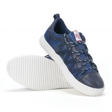 Ανδρικά μπλε sneakers παραλλαγής με κορδόνια it160318-8 5