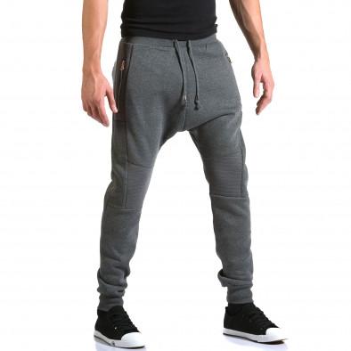Ανδρικό γκρι παντελόνι jogger New Star it211015-55 4